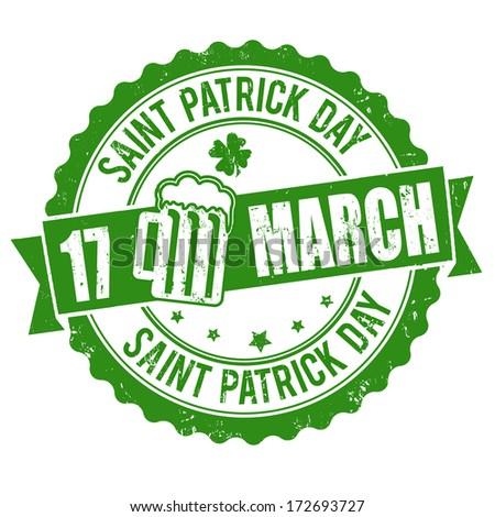 Saint Patrick Day grunge rubber stamp on white background, vector illustration - stock vector