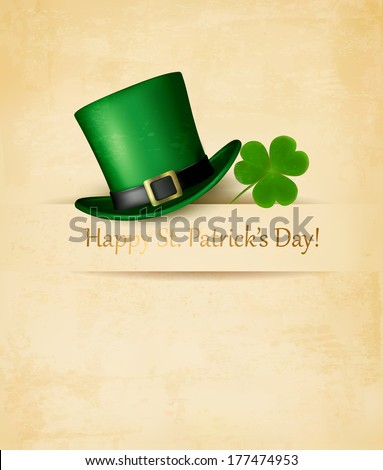 Saint Patrick's Day background with clove leaf and green hat. Vector illustration.  - stock vector