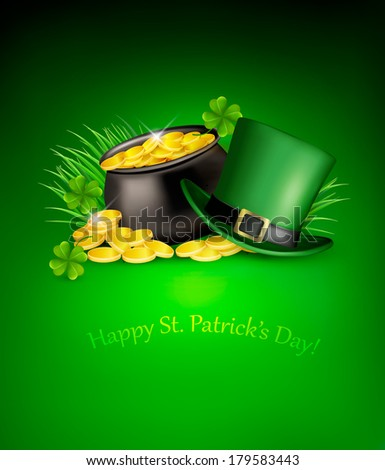 Saint Patrick's Day background with clover leaves, green hat and gold coins in a cauldron. Vector illustration.  - stock vector