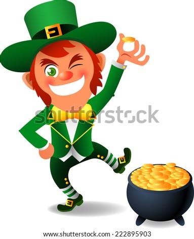 Saint patrick�´s Day cartoon elf gold coin pot illustration - stock vector