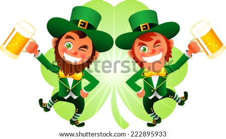 Saint patrick�´s Day cartoon elves cheering with beers - stock vector