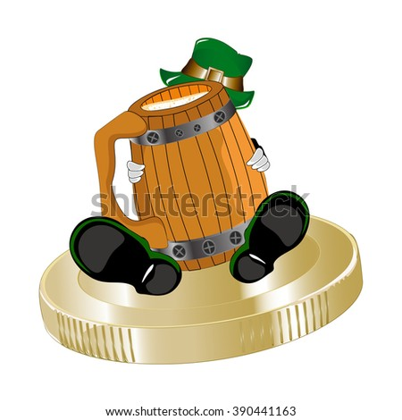 Saint Patrick's Day, drunk leprechaun with  goblet  - stock vector