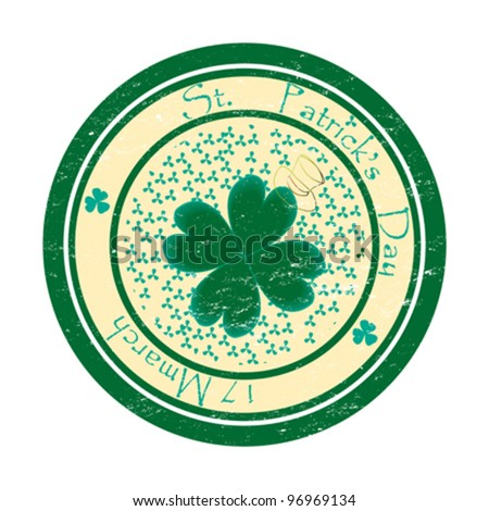 Saint Patrick's day green stamp - stock vector