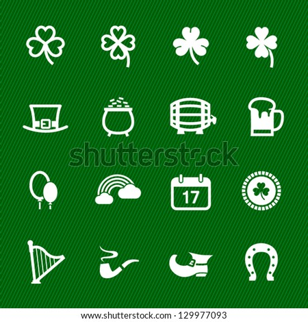 "Saint Patrick""s Day Icons with Green Background - stock vector"