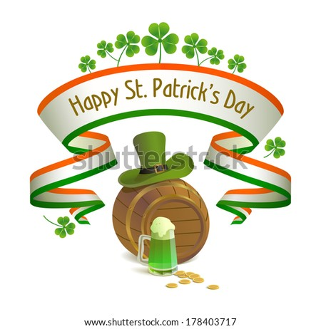 Saint Patrick's Day. Irish national holiday with leprechaun hat, keg, clover and green beer. - stock vector