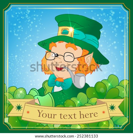 Saint Patrick's day vector illustration with Leprechaun - stock vector