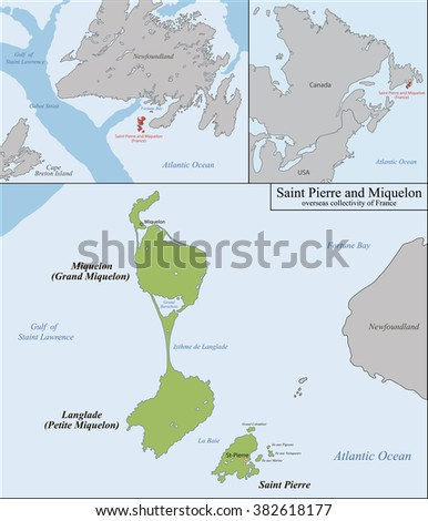 Saint Pierre and Miquelon map - stock vector