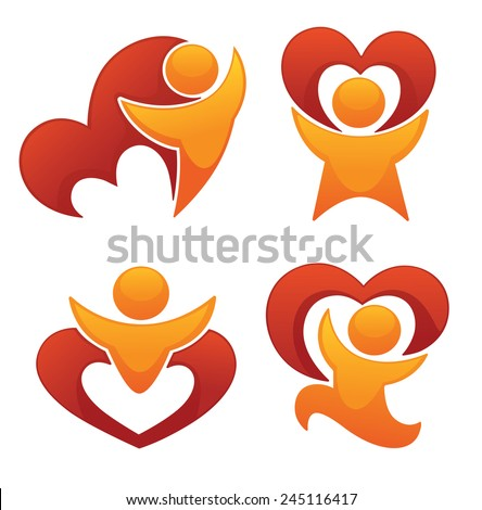 Saint Valentine emblems, vector love, people and hearts collection - stock vector