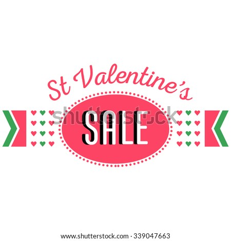 Saint Valentine's day sale and discount banner announcement. Shopping sticker. Price reduction label, flier. Trade commerce element. Promo sign offer. Pink hearts, title. Vector illustration template - stock vector
