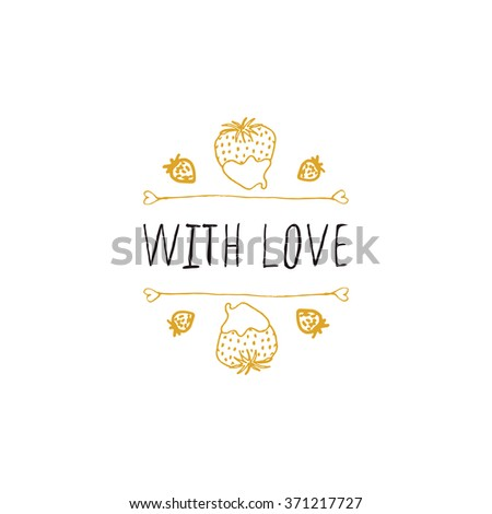 Saint Valentines day greeting card.  With love. Typographic banner with doodle heart shaped chocolate candies. Vector handdrawn badge. - stock vector