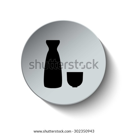 Sake icon. Sake set with jug and cup. Beverage icon. Button. Vector illustration - stock vector