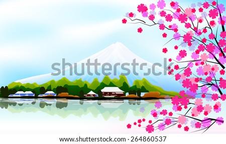 sakura and fuji mountain - stock vector