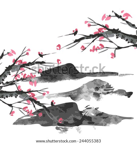 Sakura and mountains ink landscape illustration. Sumi-e vector image. - stock vector
