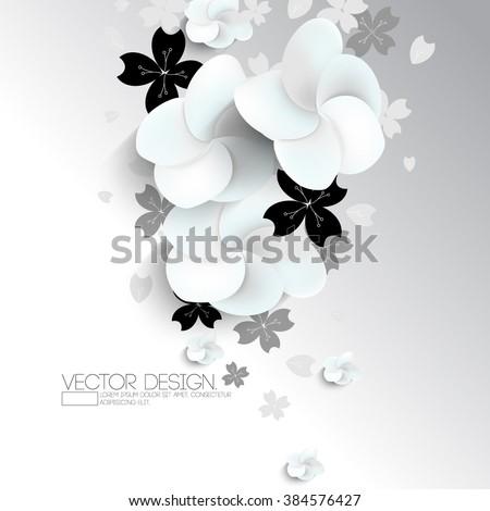 sakura flower blossoms over silhouette leaves - stock vector