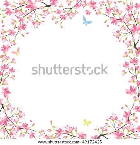 Sakura frame - stock vector
