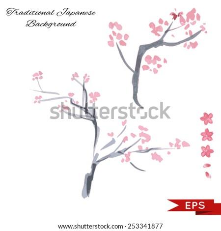 Sakura ink landscape illustration Set. Sumi-e vector image.  - stock vector