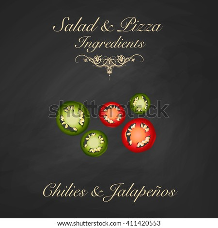 Salad and pizza ingredients - sliced chili and jalapeno peppers. Vector Illustration - stock vector