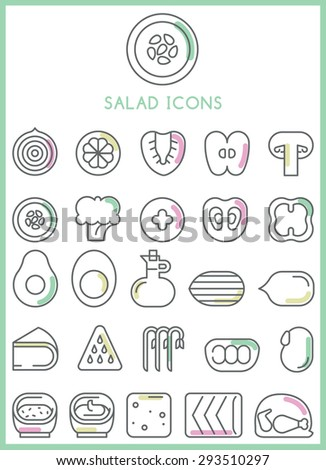 Salad icons set vector - stock vector