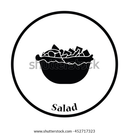 Salad in plate icon. Thin circle design. Vector illustration. - stock vector
