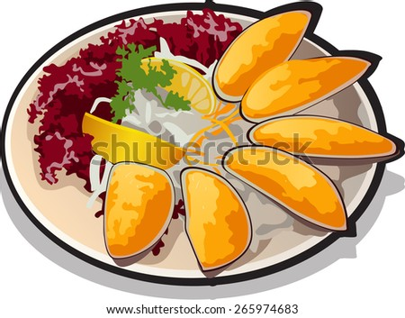salad of mussels with fresh vegetables - stock vector