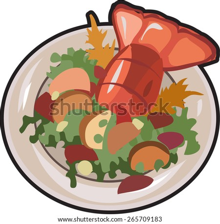 salad with lobster - stock vector