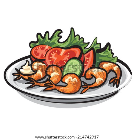 salad with shrimps - stock vector