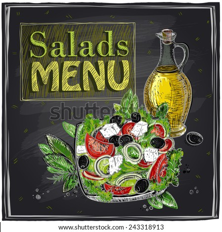 Salads menu chalkboard  design with Greek salad. - stock vector
