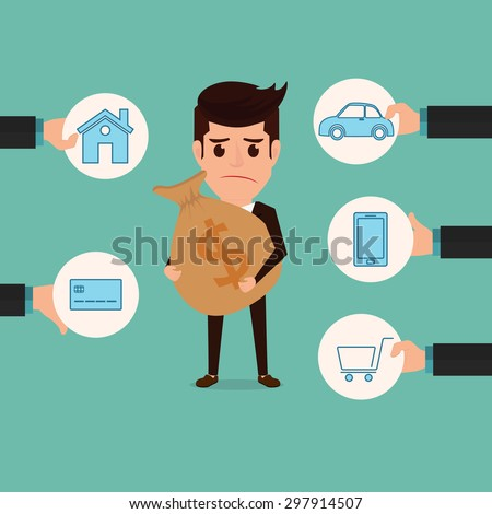 Salary man and payment bill. Debt concept. Cartoon Vector Illustration. - stock vector