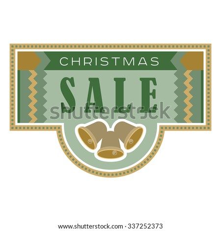 Sale and discount card, banner, flier. Christmas sale title. Green and yellow or golden color. Bells, hand drawn letters composition isolated on white background. Editable vector illustration template - stock vector