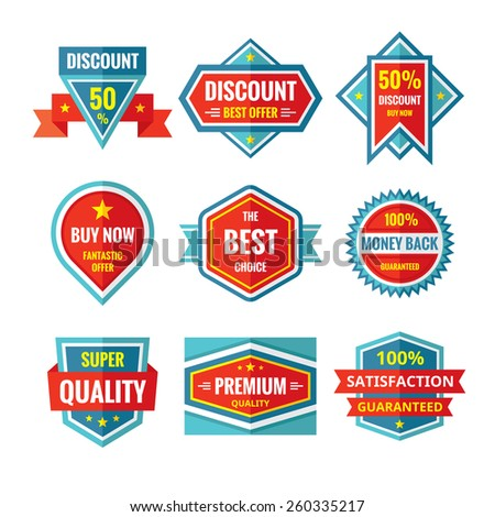 Sale and discount vector badges in flat style design. Sale badges collection. Vector flat badges set. Sale and discount logos. Design elements.  - stock vector