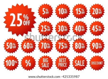Sale and price vector label icons. Discount stickers set for shop, retail, promotion. Sale and price symbol. Best price, big sale, 25% off, special offer, discount icons. - stock vector