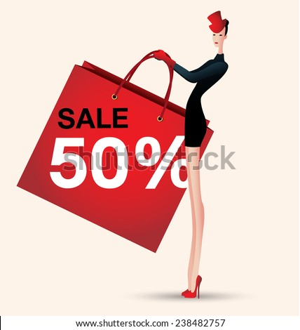 sale and woman shopping, vector illustration of fashion, shopping bag - stock vector