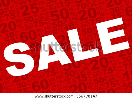 Sale Background - Sale Sign With Various Percentage Signs on Red Background - stock vector