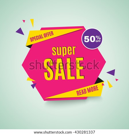 Sale banner. 50% off. Vector illustration. - stock vector