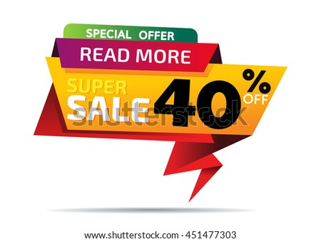Sale banner template and special offer. 40% off for your design - stock vector