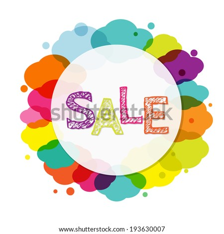 Sale Banner With Clouds, Vector Illustration - stock vector