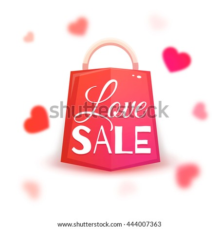 Sale banner with red hearts. Vector illustration. - stock vector