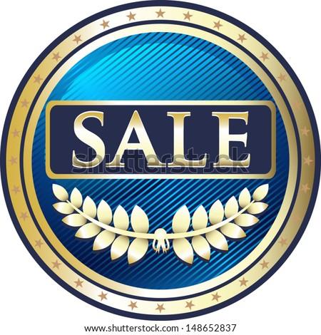 Sale Blue Medal - stock vector