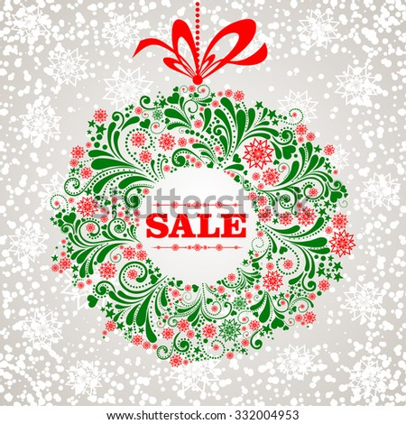 Sale. Celebration  background with Christmas wreath and place for your text. Vector Illustration  - stock vector