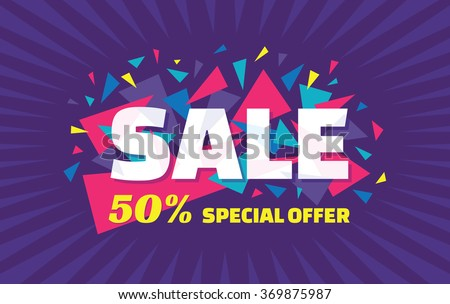 Sale concept vector banner - special offer - 50% sale. Sale banner with abstract triangle elements. Sale abstract background. Super big sale layout design. Sale horizontal geometric banner template.  - stock vector