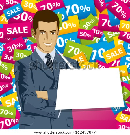 Sale concept. Vector business man in suit with folded hands. All layers well organized and easy to edit - stock vector