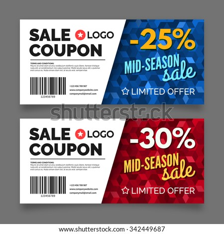 Sale coupon voucher template, premium certificate coupon, vector graphic design - stock vector