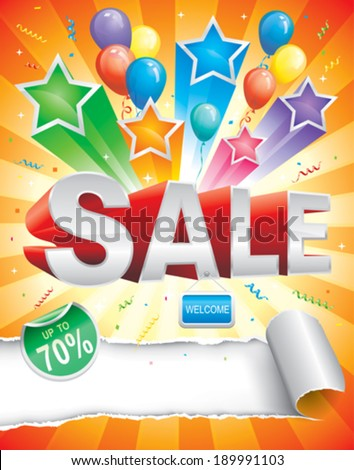 Sale design template with carnival background. vector. - stock vector