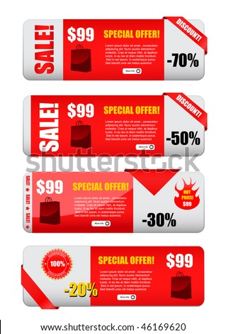 sale designed banners set - stock vector