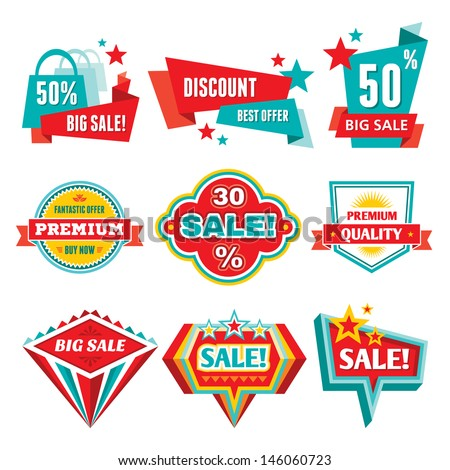 Sale & Discount Badges - Abstract Vector Logo Signs. Modern and retro vintage badges collection. Design elements.  - stock vector