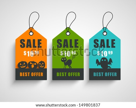 Sale, discount or offer tags, sticker or labels for Happy Halloween.  - stock vector