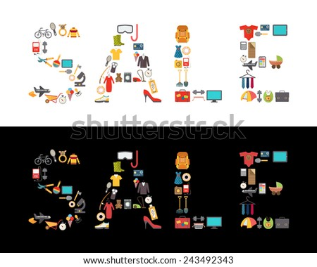Sale discount sign. Shopping items inside silhouette. Vector illustration - stock vector