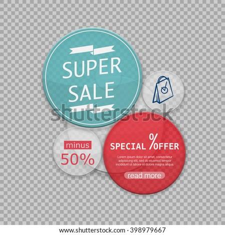 sale element, the transparent web form - stock vector