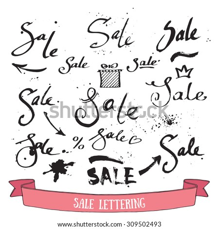 Sale handwritten inscription. Collection of ink calligraphic design elements with grunge splatter. Hand lettering. Isolated vector. - stock vector
