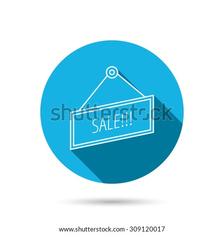 Sale icon. Advertising banner tag sign. Blue flat circle button with shadow. Vector - stock vector